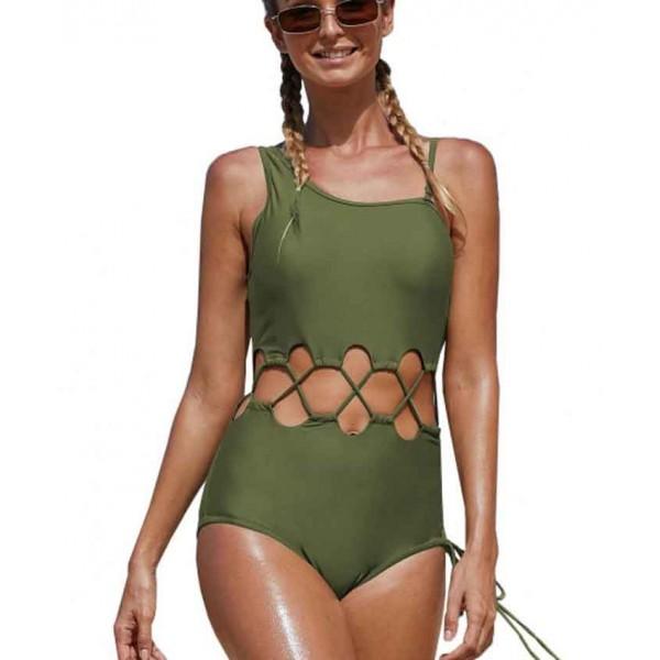 Trikini online verde oliva elegante playa o piscina